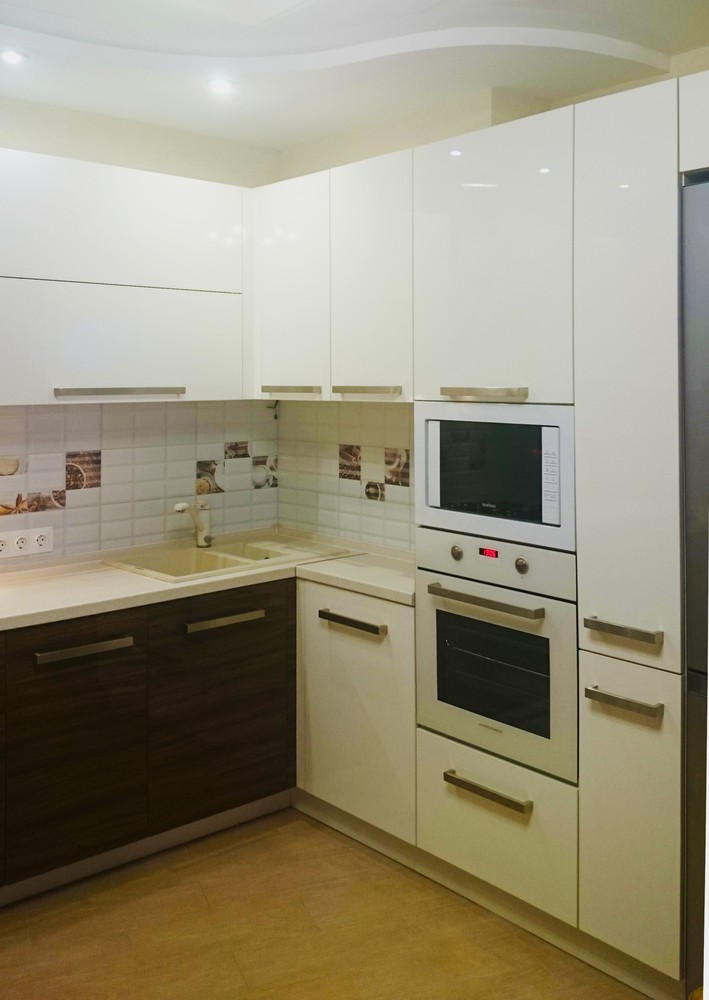 Белый кухонный гарнитур-Кухня из акрила «Модель 287»-фото1