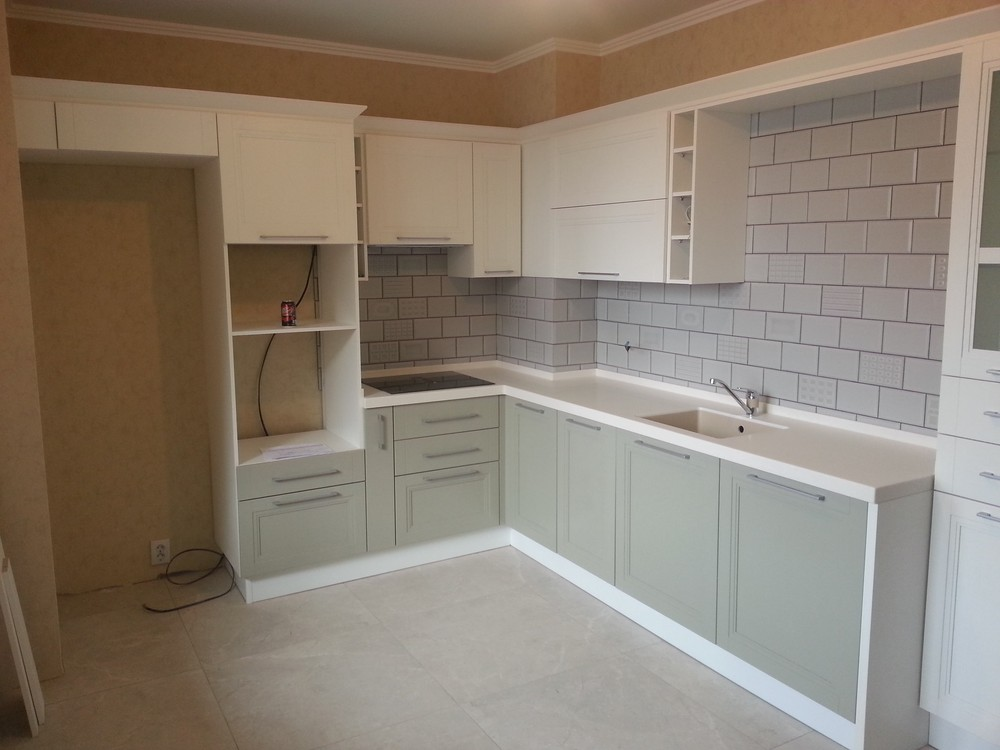 Бежевые кухни-Кухня МДФ в эмали «Модель 277»-фото1