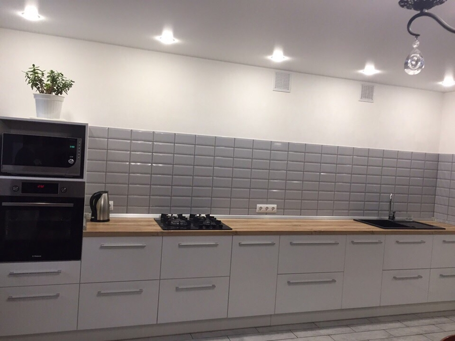 Белый кухонный гарнитур-Кухня из пластика «Модель 444»-фото1