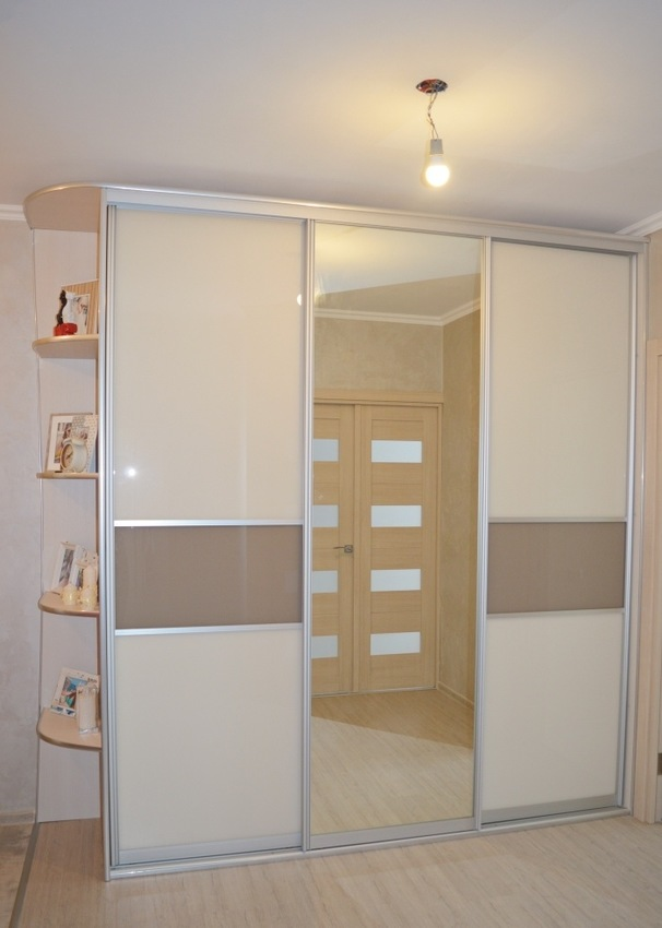 Белые шкафы-купе-Шкаф-купе с зеркалом «Модель 338»-фото1