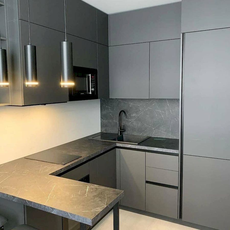 Высокие кухни под потолок-Кухня МДФ в ПВХ «Модель 677»-фото1